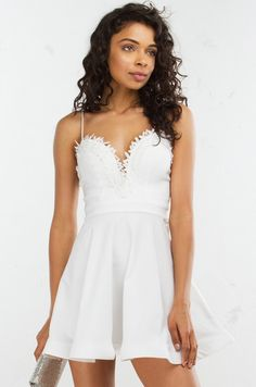 Front View Lace Detail Skater Dress in White