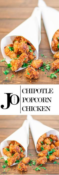 Chipotle Popcorn Chicken – so much fun to eat and so delicious! Little morsels of chicken dipped in a spicy batter and fried to perfection! Spicy Recipes, Appetizer Recipes, Chicken Recipes, Cooking Recipes, Tapas, I Love Food, Good Food, Yummy Food, Poulet Caprese