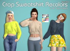 Crop Sweatshirt Recolors at Tukete via Sims 4 Updates  Check more at http://sims4updates.net/clothing/crop-sweatshirt-recolors-at-tukete/