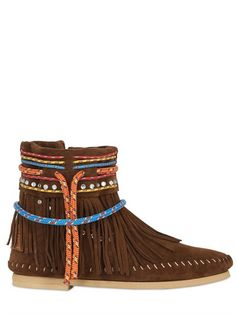 SARAH SUMMER 10MM FRINGED REVERSED LEATHER BOOTS - LUXURY SHOPPING WORLDWIDE SHIPPING – FLORENCE