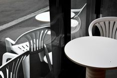 miró manufactura de café a small speciality coffee roaster based in zurich opened in July 18 there new shop designed by uprising architects florian ringli and jungwoo lee. here a shot by géraldine recker photography (copyright) of the monobloc chair. Zurich, New Shop, Wishbone Chair, Architects, The Originals, Coffee, Tableware, Photography, Design