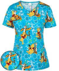 Never stop bouncing with the Cherokee Tooniforms Disney My Tigger Friend Scrub Top. Buy cute and cuddly disney scrubs at Uniform Advantage today! Disney Scrubs, Uniform Advantage, Scrub Life, Pediatric Nursing, Scrub Tops, Cherokee, Tigger, Things That Bounce, Floral Tops