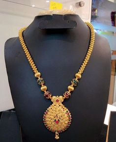 One Gram Gold Long Chain ~ South India Jewels Gold Necklace Simple, Gold Jewelry Simple, Long Chain Necklace, Gold Necklaces, Necklace Set, Gold Earrings, Gold Temple Jewellery, Gold Jewellery Design, India Jewelry