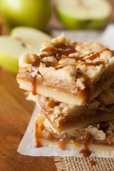 Caramel Apple Shortbread Crumble Bars - The Kitchen McCabe
