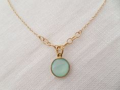 Genuine Teal Chalcedony on Gold Filled Chain... bridesmaids, mothers, wedding jewelry, bridal party on Etsy, $38.00