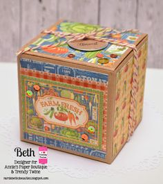 Beth's Beauties: Trendy Twine ~ Farm Fresh Gift Box using Graphic 45 papers and Lemon Peppermint Trendy Twine
