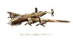 "Halifax MK III Bomber, vintage watercolor print 8x10"""
