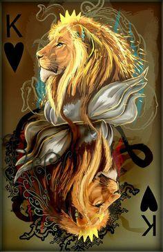 king of hearts by Decadia on deviantART Lion Images, Lion Pictures, Lion Love, Lion Wallpaper, Le Roi Lion, Lion Of Judah, Lion Art, King Of Hearts, Mythical Creatures