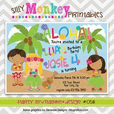 058: DIY - Aloha Luau Party Invitation Or Thank You Card. $12.95, via Etsy.