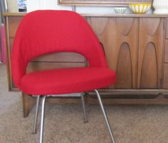 Vintage Knoll Side Chair in red from Remnant PDX on Etsy