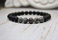 Men's Onyx Bracelet, Unisex Bracelet, Black Labradorite Jewelry, Men's Wrist Mala, Zen Gifts for Him