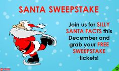 Join the ShieldSlots Santa Sweepstake!  Find silly Santa facts this December and win your share of $300 in cash prizes!  Enter daily, it's free. Cash Prize, Slot, December, Join, Facts, Free, Fictional Characters, Fantasy Characters, Truths