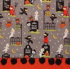 charming children in graveyard tea towel halloween by handyjan