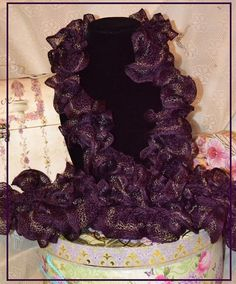 Rich Plum with a Touch of Copper Ruffle Scarf by pdqt12 on Etsy, $15.00