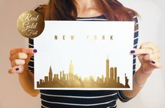 New York Skyline Real Gold Foil Gold Print NYC by LovelyPosters