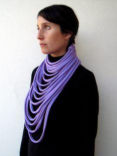 The padaung scarf  handmade in lilac jersey by birdienumnumshop, $55.00
