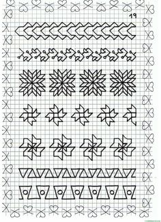 Ficha 19 Blackwork Cross Stitch, Blackwork Embroidery, Hand Work Embroidery, Cross Stitch Borders, Cross Stitch Embroidery, Cross Stitch Patterns, Graph Paper Drawings, Graph Paper Art, Quilt Square Patterns