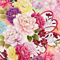 振袖レンタルR1025 ピンク 彩色牡丹☆(絹)