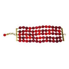 dd2886633701 Chanel Vintage Red Beaded Gripoix Bracelet Bangles