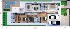 Plano de casa con 3 suites12x30 Architectural House Plans, Deck, Shipping Container Homes, Dream House Plans, Suites, Architecture Plan, Autocad, Tulum, Home Projects