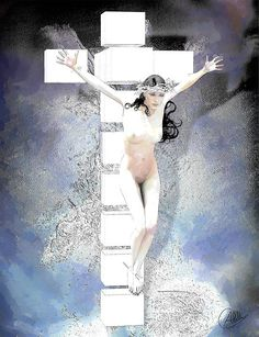 Crucifixion Framed Print featuring the painting Blue Crucified Woman by Quim Abella Framed Prints, Canvas Prints, Art Prints, Atheist Symbol, Art Icon, Crucifix, Unique Art, Female Art, Fine Art America