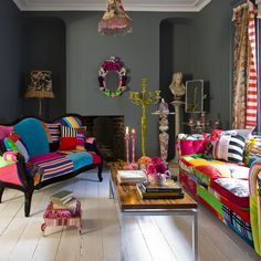 a bit off my style but im in the mood to find antique furniture and play with it..i want a room with pop/color/spunk..love the gray walls with the colors