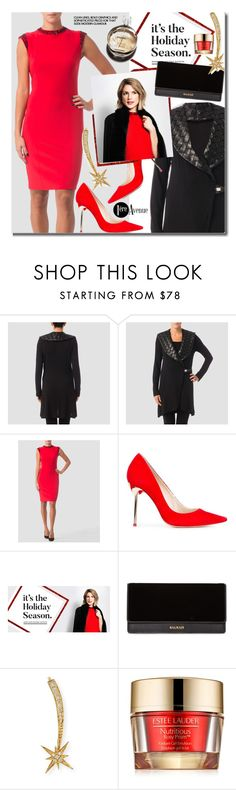 """""""Joseph Ribkoff Holiday Style"""" by beebeely-look ❤ liked on Polyvore featuring Joseph Ribkoff, Sophia Webster, Balmain, Sydney Evan, Chanel, Estée Lauder, country, Christmas, reddress and holidaystyle"""
