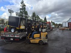 Shipping Solar Light Towers from King Solarman's 48900 Milmont Dr. Fremont CA warehouse to the job sites. www.SolarLEDTrailer.com