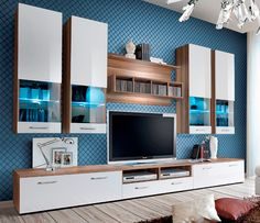 Torino 2 Plum And White High Gloss Fronts Entertainment Center Living Room Wall Units Modern Tv Wall Units And Media Wall Unit Modern Entertainment Center, Entertainment Wall Units, Tv Plasma, Modern Tv Wall Units, Modern Wall, Modern Living, Wall Display Cabinet, Display Cabinets, Tv Display