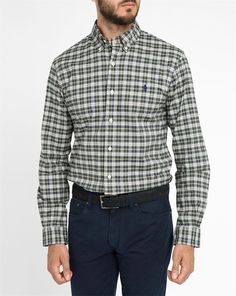 POLO Ralph Lauren, Green Checked Washed Oxford Slim-Fit Shirt