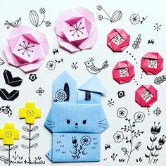 うさぎちゃん ミミの折れ方はこっちですね(*^^*) #origami  #illustration  #papercraft  #paperflower  #rabbit  #bunny #flowergarden  #イラスト #はな  #おりがみ  #折り紙  #ペーパークラフト  #うさぎ  #お花畑
