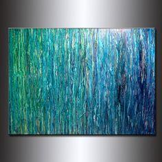 TAMAÑO ORIGINAL abstracta pintura, arte contemporáneo, azul moderno, tamaño abstracto verde: 48 X 36 X1.58 Título: Lluvia historia 7 (ACABADO DE ALTO BRILLO) PINTURA a medida - Original contemporáneo Modern Abstract Painting by Henry parsinia. La pintura será similar al que ves aquí, que ya he vendido. La pintura será firmada por mí y será enviada directamente desde mi estudio. Esta pintura moderna abstracta contemporánea fue pintada sobre lienzo libre ácido Galería envuelta. Se han utili...