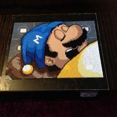 Sleeping Mario perler bead art by sajagee