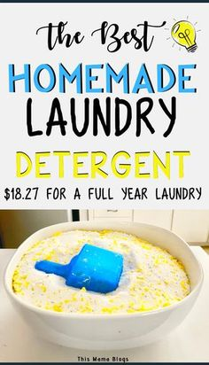 This best homemade laundry detergent recipe is super simple to make and saves us a lot of money per year. Laundry Detergent Recipe, Powder Laundry Detergent, Homemade Laundry Detergent, Laundry Powder, Diy Soap Laundry, Best Natural Laundry Detergent, Laundry Room, Eco Friendly Laundry Detergent, Tips And Tricks