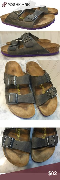 Birkenstock Arizona sandals size 42 11.5 12 purple Birkenstock Arizona Sandal in Iron Gray / Purple Sole, size 42 (women's size 11 - 12) This are classic Birkenstocks with the fun twist of the purple sole! They were only worn 2 or 3 times and are in excellent condition, with only a few signs of scuffing on the leather. The footbed is unmolded so it will take the shape of your feet! Both straps have buckles for the perfect fit. Birkenstock Shoes Sandals