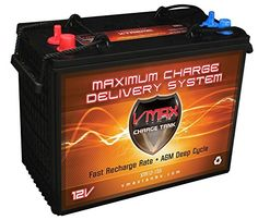 Golf Cart 12V VMAX XTR12-155 155AH Dry Battery Trojan T-1275 AGM replacement