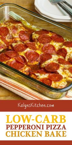 Try this Low-Carb Pepperoni Pizza Chicken Bake when you need some low-carb and g. Try this Low-Carb Pepperoni Pizza Chicken Bake when you need some low-carb and gluten-free comfort Healthy Low Carb Recipes, Low Carb Dinner Recipes, Keto Dinner, Cooking Recipes, Chicken Bake Recipes, Spinach Recipes, Carb Free Foods, Carb Free Dinners, Gastronomia