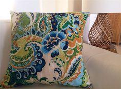 Designer Cushions Vibrant Forest Fantasy Blues & Greens Bright & Colourful   Island Home Emporium   madeit.com.au