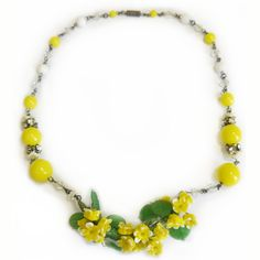 What a wonderfully upbeat, beautiful 1950s Czech glass floral necklace. #vintage #jewelry #necklace #1950s
