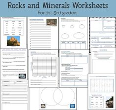 11 exclusive Rocks and Minerals Worksheets for graders from Mama's Learning Corner Science Worksheets, Science Resources, Science Lessons, Science Activities, Science Ideas, Science Experiments, Science Classroom, Teaching Science, Science Education
