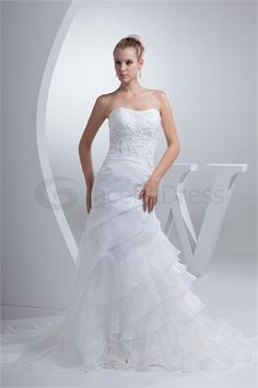 Sleeveless Satin Corset-back Mermaid/ Trumpet Wedding Dress http://www.GracefulDress.com/Sleeveless-Satin-Corset-back-Mermaid-Trumpet-Wedding-Dress-p20134.html