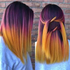 48 Inspiring Short Ombre Hair Color Ideas – Cheveux et coiffures Yellow Hair Color, Hair Dye Colors, Ombre Hair Color, Cool Hair Color, Orange Ombre Hair, Dark Orange Hair, Purple And Green Hair, Vivid Hair Color, Bright Hair Colors