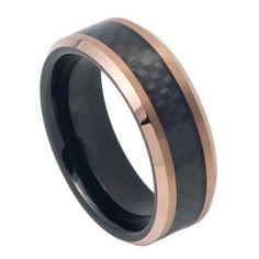 Men's Rose and Black Tungsten Carbide Wedding Band Ring Black Carbon Fiber Inlay #JRyanFineJewelry #Wedding