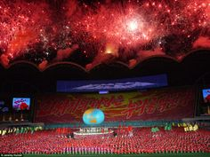 Finale: Fireworks explode above the May Day Stadium in Pyongyang to celebrate the end of another Arirang show
