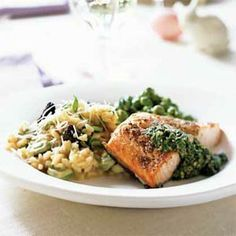 Welcome Spring menu: Fava Bean Bruschetta, Salmon with Fresh Sorrel Sauce, Spring Risotto, Fresh Peas with Mint