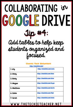 5 ways to avoid disasters when students are collaborating in Google Drive. Tip #4: Add tables to help keep students organized and focused Google Drive, Instructional Technology, Instructional Strategies, Teaching Technology, Educational Technology, Google Docs, Google Classroom, Classroom Ideas, Problem Based Learning