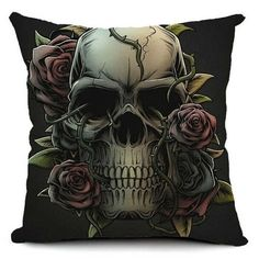 Pillowcase Halloween Skull Cushion Cover Cotton Linen Size 40*40 Printed Throw Pillows Decorative Cojines Housse De Coussin