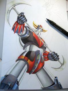 Illustration de Goldorak colorisé aux feutres Graph'it Marker  #Goldorak