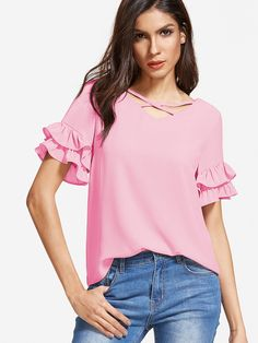 Shop Crisscross V Neck Layered Ruffle Sleeve Top online. SheIn offers Crisscross V Neck Layered Ruffle Sleeve Top & more to fit your fashionable needs.
