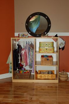 I like this for a dress up station, maybe a mirror on the side.